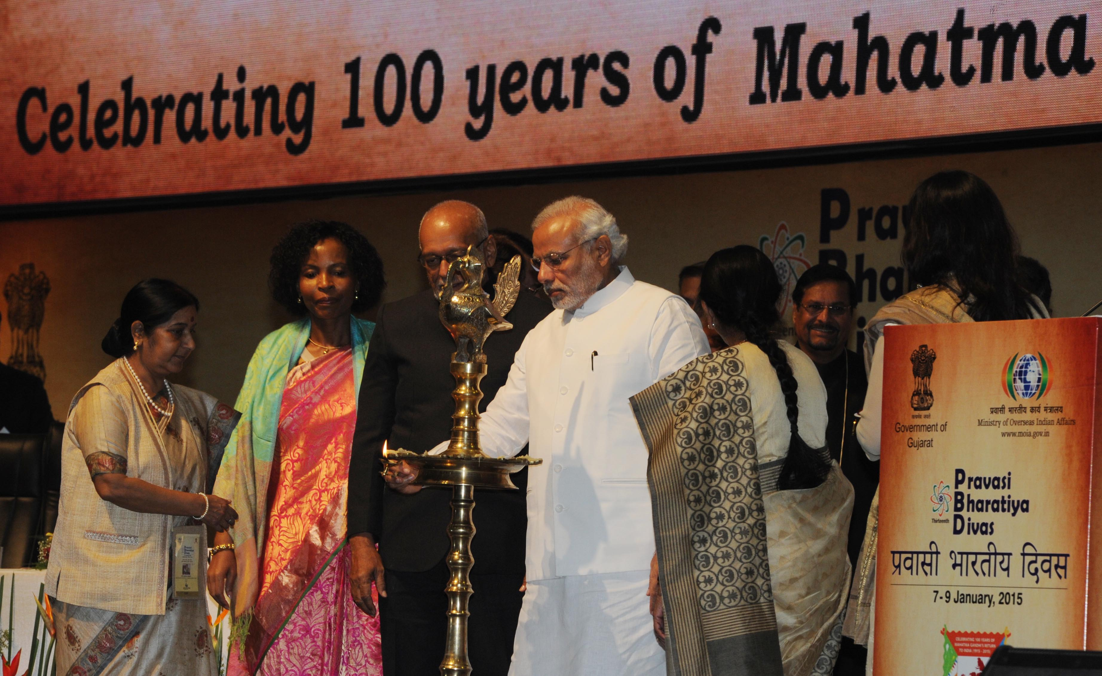 PM inaugurating 13th PBD convention at Gandhi Nagar, Gujarat (January 08, 2015)