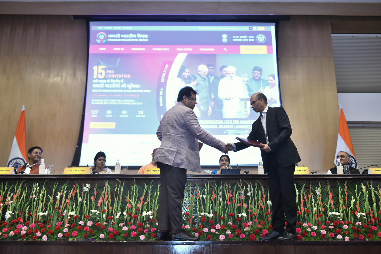 External Affairs Minister and Yogi Adityanath, Chief Minister of Uttar Pradesh jointly launch the website of 15th Pravasi Bharatiya Divas in New Delhi