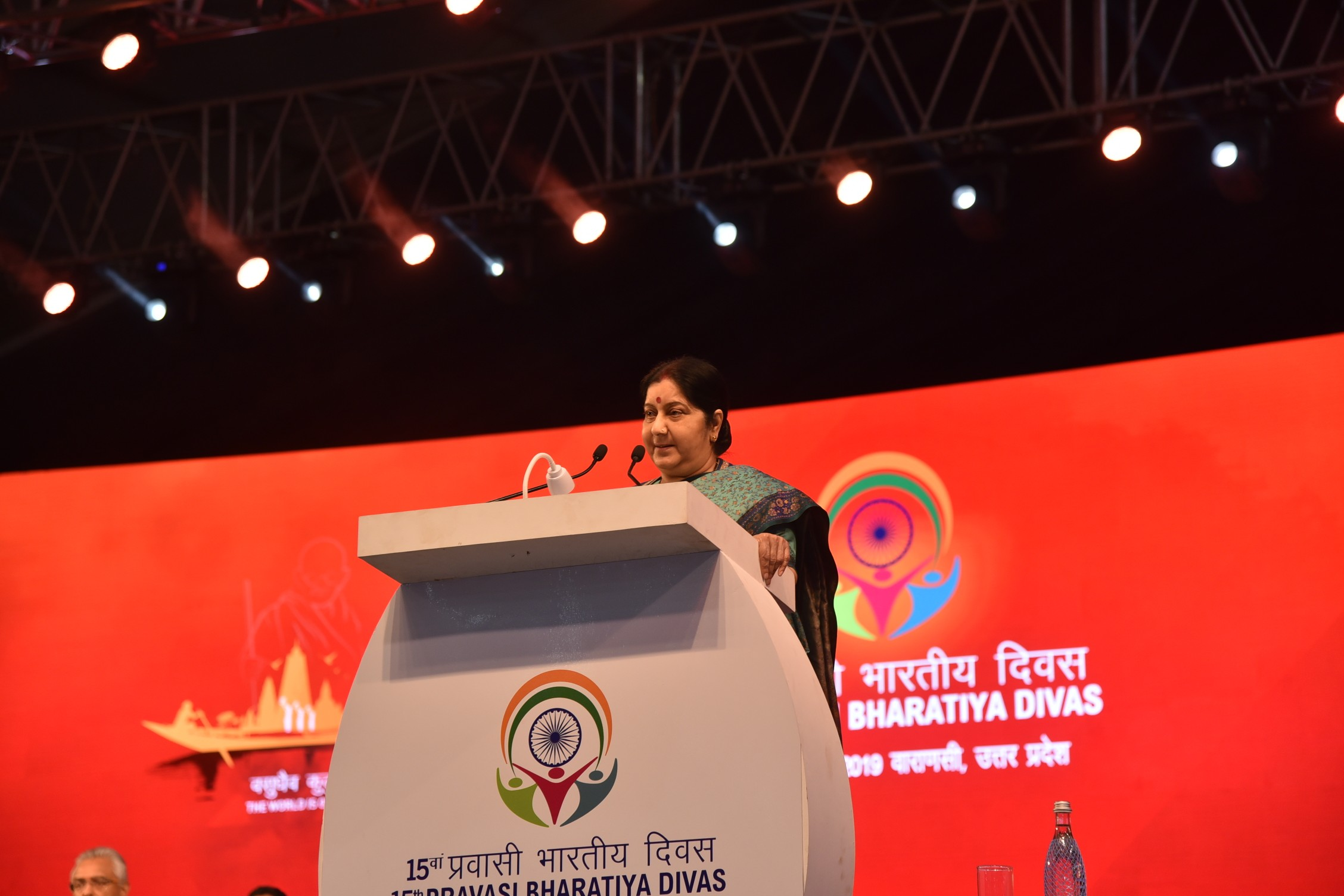 External Affairs Minister delivers welcome address in varanasi during pbd 2019