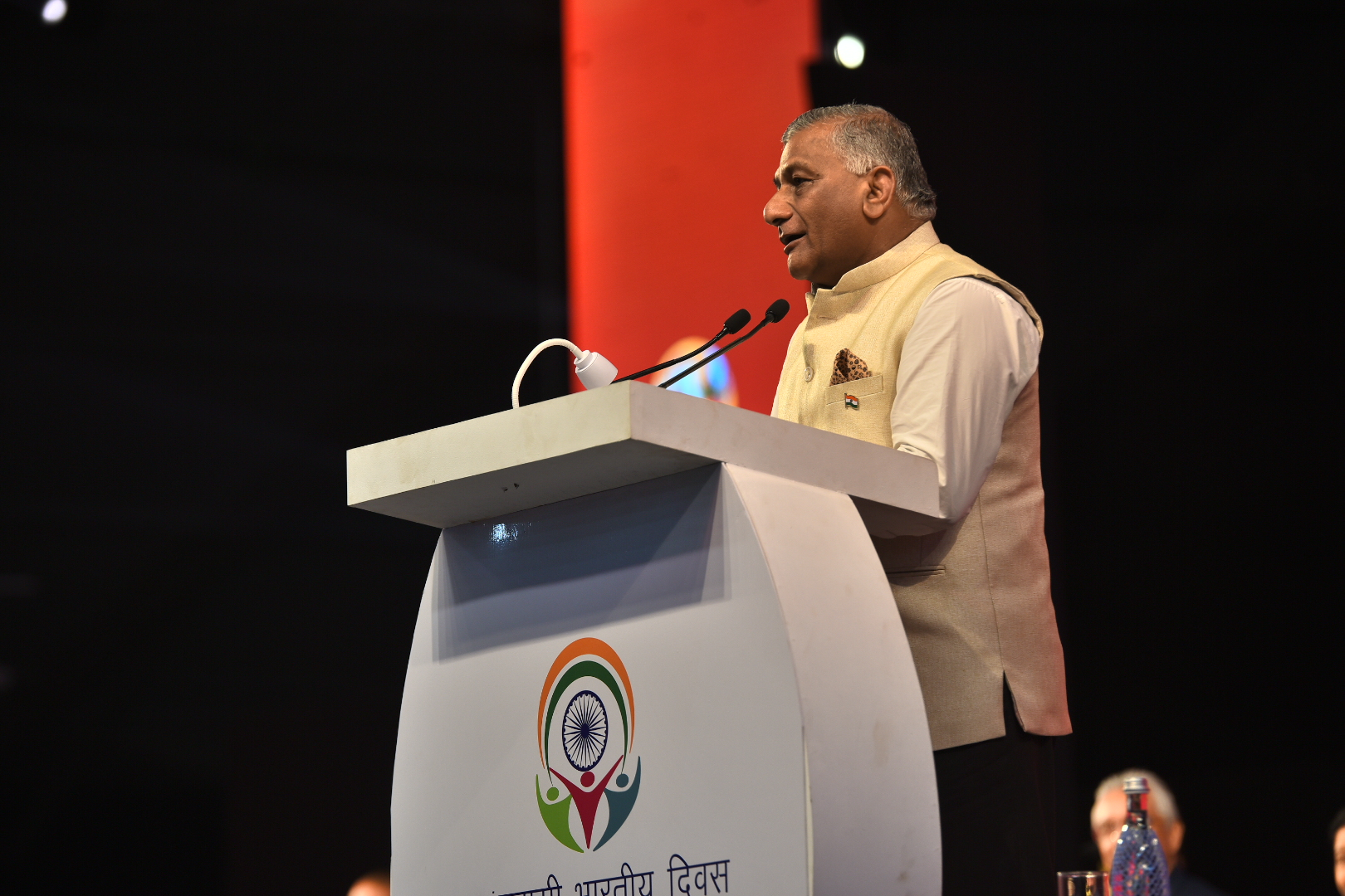 MoS EA  delivers his address in Varanasi during pbd-2019
